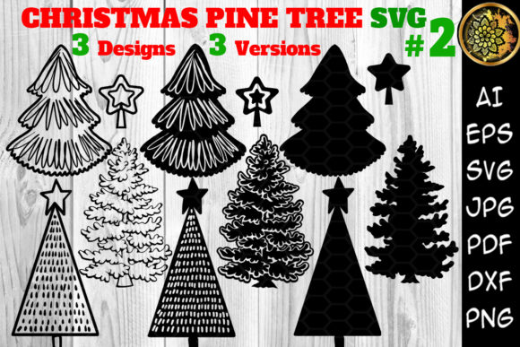 Print on Demand: Christmas 3 Designs Pine Tree Set 2 Graphic Illustrations By V-Design Creator
