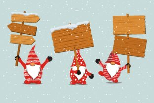 Print on Demand: Christmas Gnome Hold Signboard in Snow Graphic Illustrations By edywiyonopp