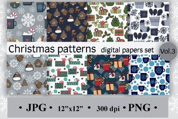 Christmas Patterns, Digital Papers Vol 3 Graphic Backgrounds By SunnyColoring
