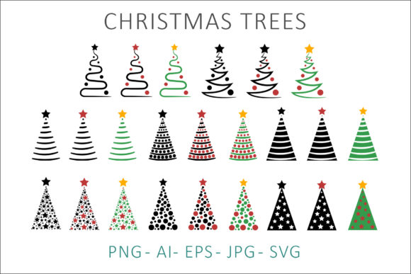 Print on Demand: Christmas Trees Clipart Graphic Illustrations By AS Digitale
