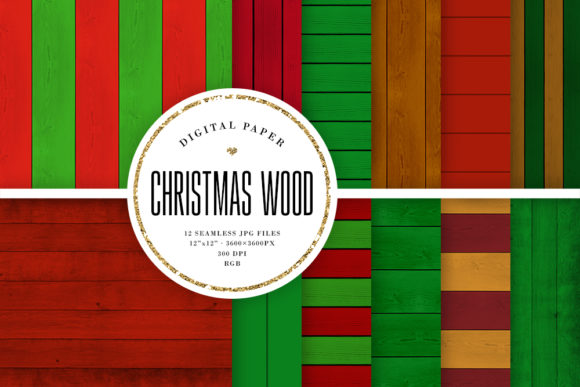 Print on Demand: Christmas Wood Seamless Backgrounds Graphic Backgrounds By Sabina Leja