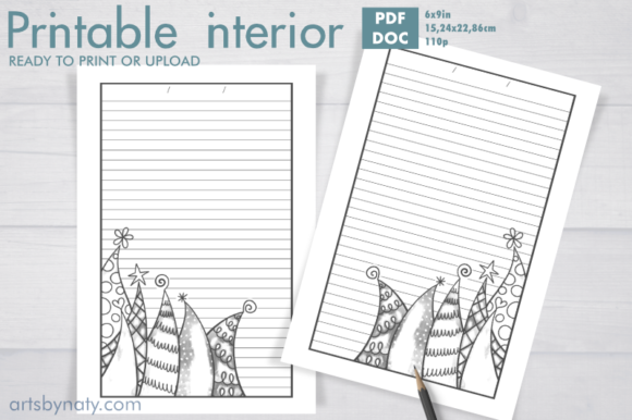 Print on Demand: Christmas Trees to Color - KDP Notebook. Graphic KDP Interiors By artsbynaty