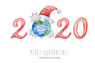 Print on Demand: Covid Christmas 2020 Clipart. Virus Graphic Illustrations By Tiana Geo