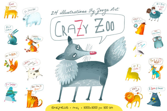 Print on Demand: Crazy Zoo - Animals Illustrations Graphic Illustrations By Zooza Art