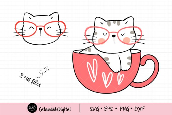 Cute Cat Valentine Svg Graphic Illustrations By CatAndMe