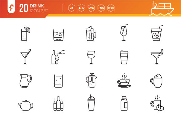 Drink and Alcohol Line Icons Vector Graphic Icons By ferart88