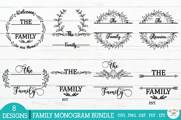 Family Monogram Frames Bundle Grafik Plotterdateien von redearth and gumtrees