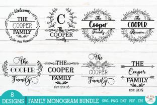 Print on Demand: Family Monogram Frames Bundle Graphic Crafts By redearth and gumtrees 2