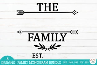 Print on Demand: Family Monogram Frames Bundle Graphic Crafts By redearth and gumtrees 3