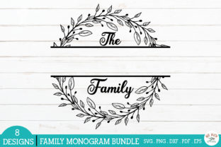 Print on Demand: Family Monogram Frames Bundle Graphic Crafts By redearth and gumtrees 8