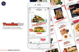 Print on Demand: Foodieslov Instagram Restaurant Post Graphic Graphic Templates By The1stWinner 1