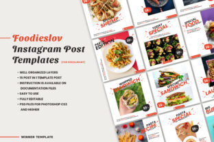 Print on Demand: Foodieslov Instagram Restaurant Post Graphic Graphic Templates By The1stWinner 4