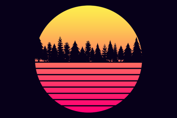 Print on Demand: Futuristic Retro Sunset Graphic Objects By atlasart