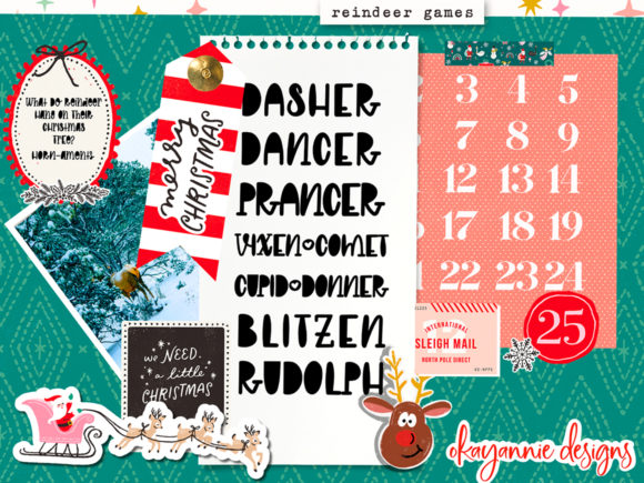 GingerBread & Mistletoe Font Design Item
