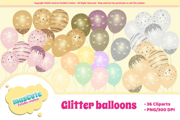 Print on Demand: Glitter Balloons Cliparts Graphic Illustrations By mascute.arte