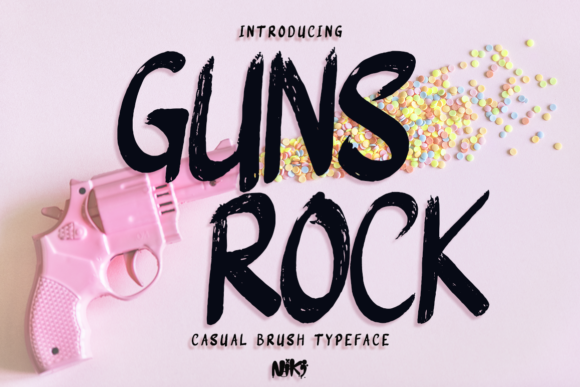 Print on Demand: Guns Rock Display Schriftarten von Niki Studio