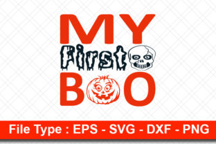 Print on Demand: Halloweeen  Svg Design, My First BOO Graphic Print Templates By svg_hut