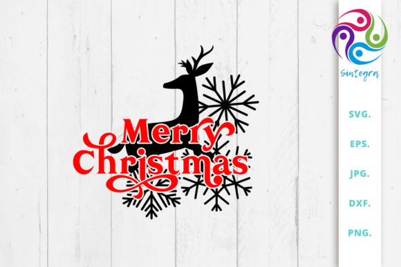 Print on Demand: Merry Christmas Deer Svg File Graphic Crafts By Sintegra