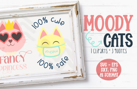 Moody Cat Illustrations Graphic Crafts By Firefly Designs