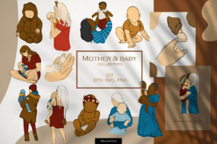 Mother & Baby Clipart Graphic Illustrations By HappyWatercolorShop