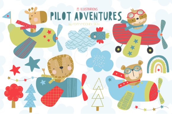 Print on Demand: Pilot Adventures Clipart Set Graphic Illustrations By poppymoondesign