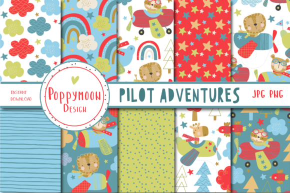 Print on Demand: Pilot Adventures Paper Set Graphic Patterns By poppymoondesign