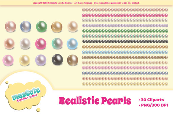 Print on Demand: Realistic Pearls Cliparts and Borders Graphic Illustrations By mascute.arte