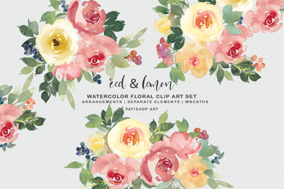 Red and Lemon Watercolor Bouquet Clipart Graphic Illustrations By Patishop Art