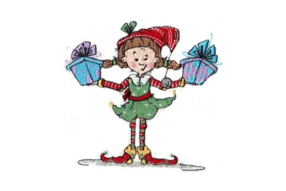 Sassy Polly Elf Christmas Embroidery Design By Sew Terific Designs