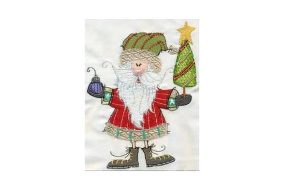Sassy Santa with Tree Christmas Embroidery Design By Sew Terific Designs