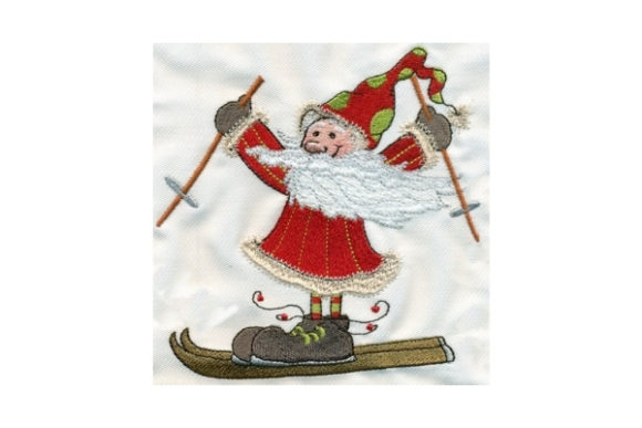 Sassy Skiing Santa Christmas Embroidery Design By Sew Terific Designs