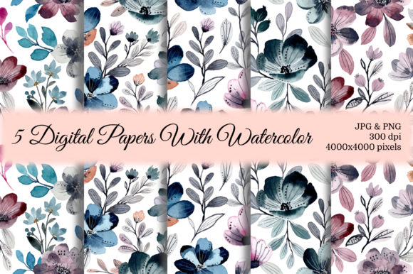 Print on Demand: Seamless Pattern Floral Watercolor 25 Grafik Muster von asrulaqroni