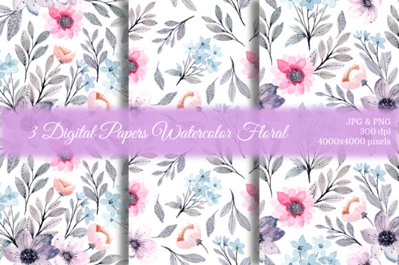 Print on Demand: Seamless Pattern Floral Watercolor 26 Graphic Patterns By asrulaqroni