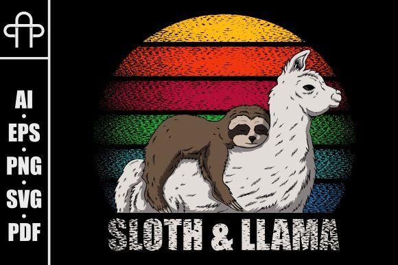 Print on Demand: Sloth and Llama Retro Graphic Illustrations By Andypp