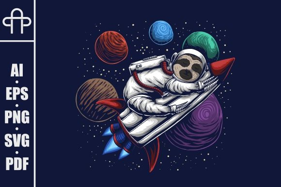 Print on Demand: Sloth Astronaut Vector Illustration Graphic Illustrations By Andypp