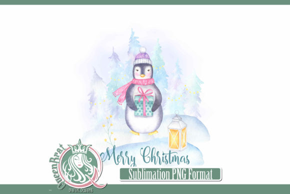 Print on Demand: Sublimation   Merry Christmas Penguin Graphic Illustrations By QueenBrat Digital Designs