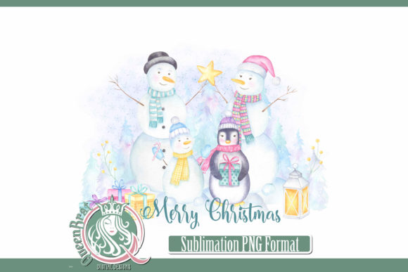 Print on Demand: Sublimation  Merry Christmas Snow Family Graphic Illustrations By QueenBrat Digital Designs