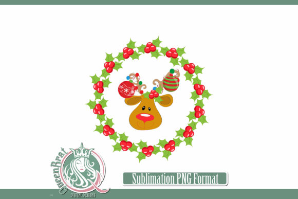 Print on Demand: Sublimation | Reindeer Holly Wreath Graphic Illustrations By QueenBrat Digital Designs