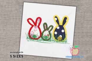 Three Small Easter Bunny Applique Easter Embroidery Design By embroiderydesigns101