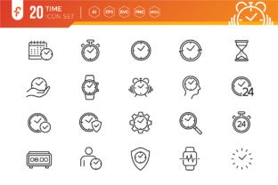 Time - Thin Line Web Icon Set Graphic Icons By ferart88