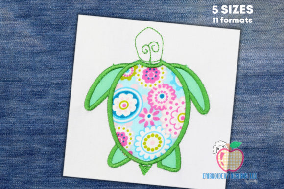 Tortoise Applique Reptiles Embroidery Design By embroiderydesigns101