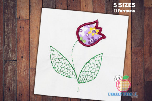Tulip Flower with the Leaves Applique Single Flowers & Plants Embroidery Design By embroiderydesigns101