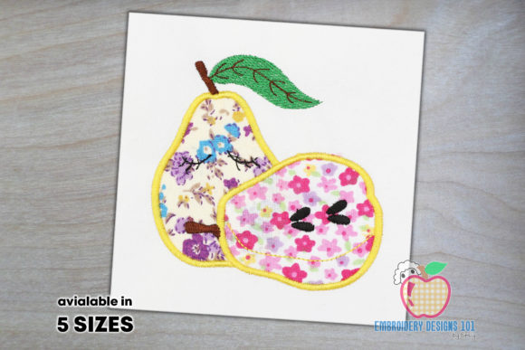 Two Pear with the Close Eyes Applique Food & Dining Embroidery Design By embroiderydesigns101