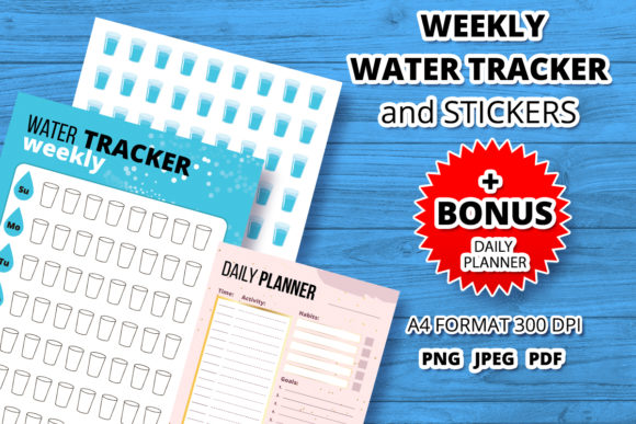 Water Tracker and Stickers Template Graphic Print Templates By Анна Конева