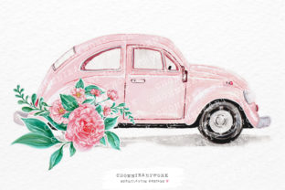 Print on Demand: Watercolor Pink Vintage Car Flower Graphic Crafts By Chonnieartwork