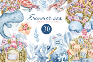 Print on Demand: Watercolor Underwater Clipart. Whales Graphic Illustrations By Tiana Geo