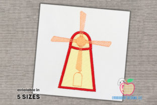Windmill Applique Cities & Villages Embroidery Design By embroiderydesigns101
