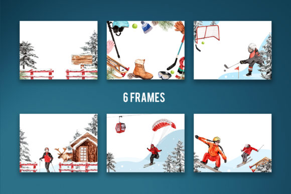 Winter Sports Watercolor Graphic Download