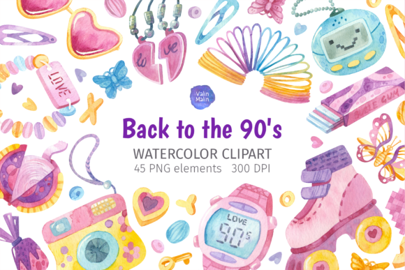 Print on Demand: 90s Theme. Watercolor Clipart Graphic Illustrations By ValinMalin