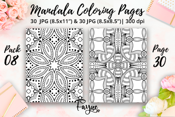 Print on Demand: Adult Coloring Pages | Mandalas Pack 08 Graphic Coloring Pages & Books Adults By Fayne